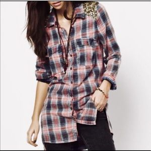 Free people sequined button down flannel.